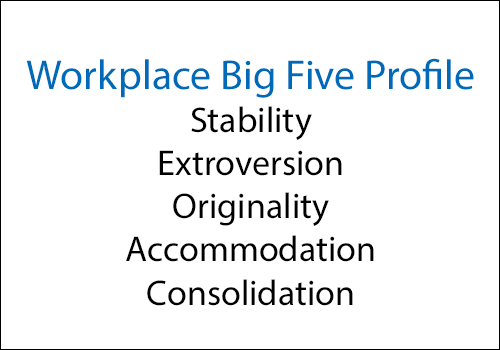 Workplace Big Five Profile - Stability, Extroversion, Originality, Accommodation, Consolidation